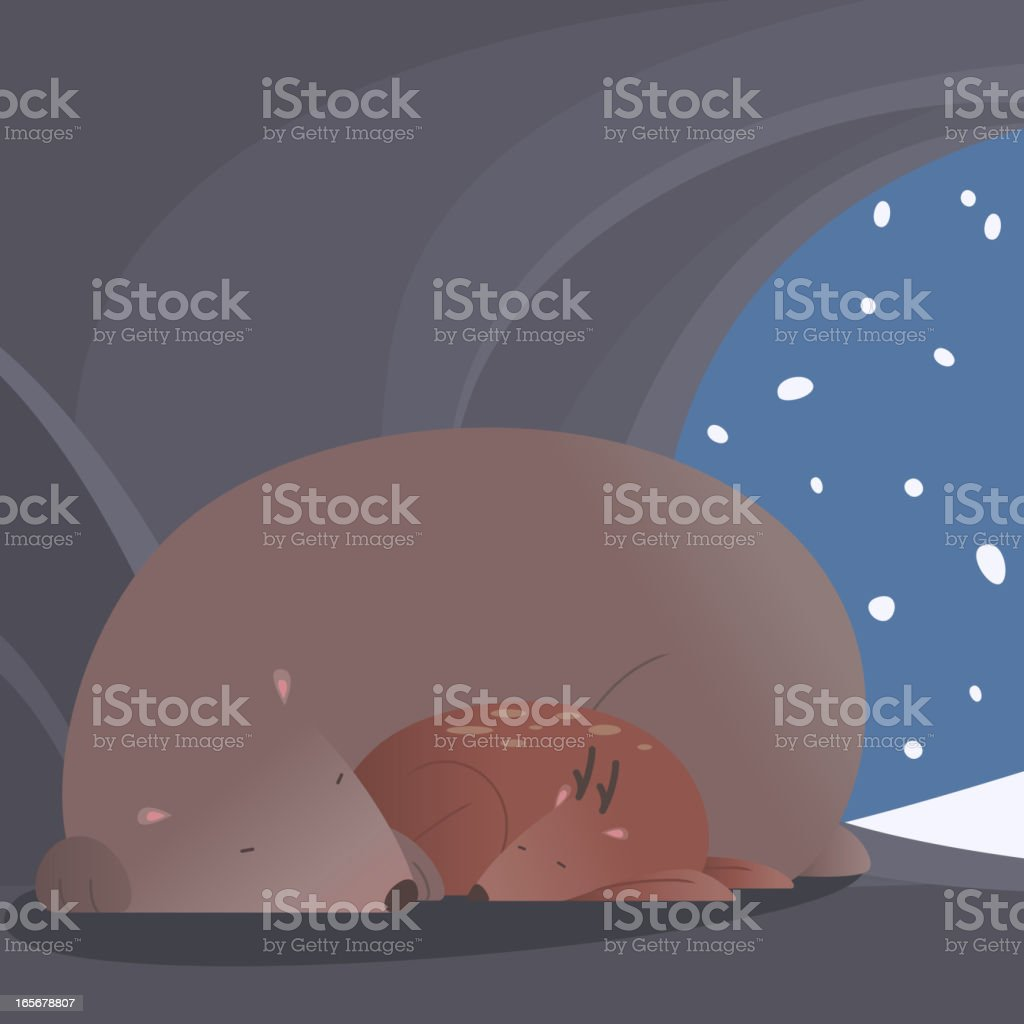 Winter peaceful scene with bear and deer sleeping together vector art illustration