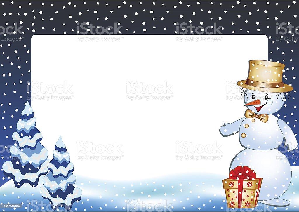 Winter photo frame. Funny snowman. royalty-free stock vector art