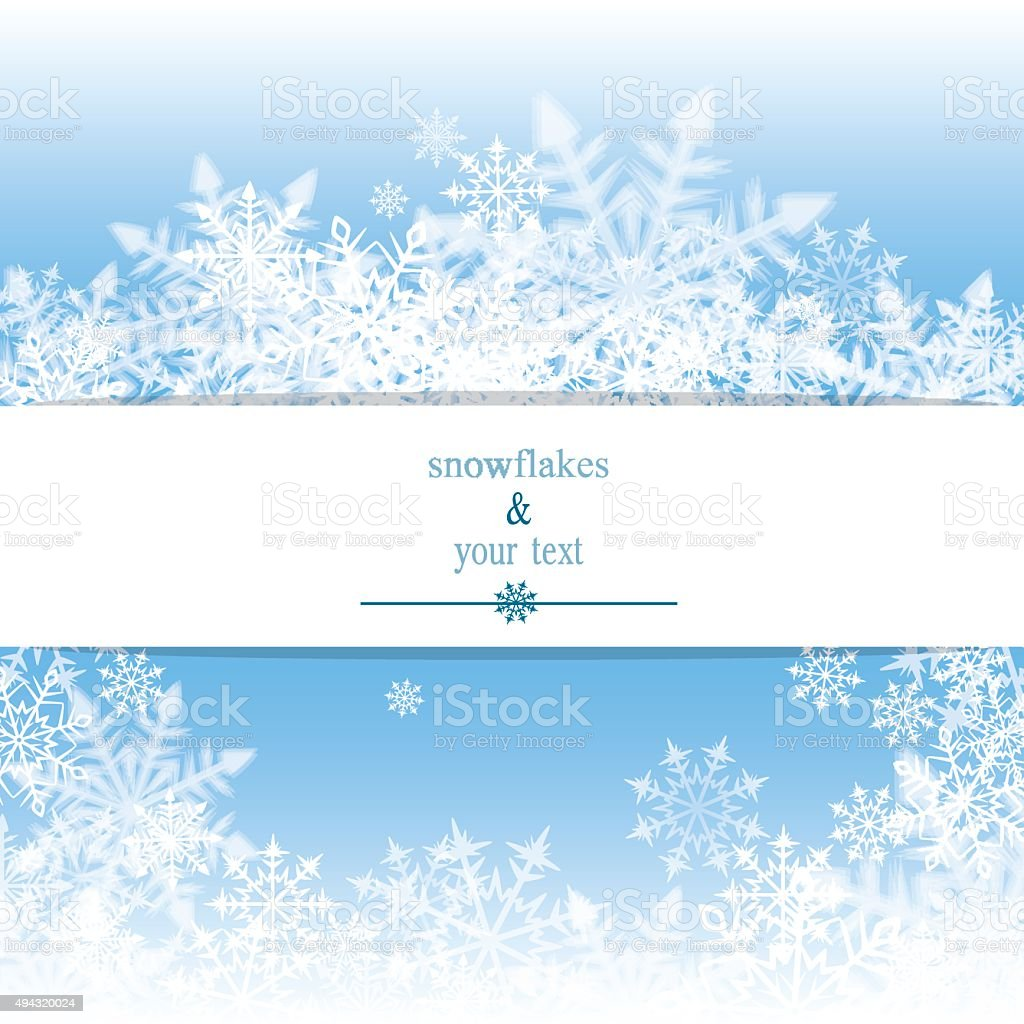 winter print with white snowflakes vector art illustration