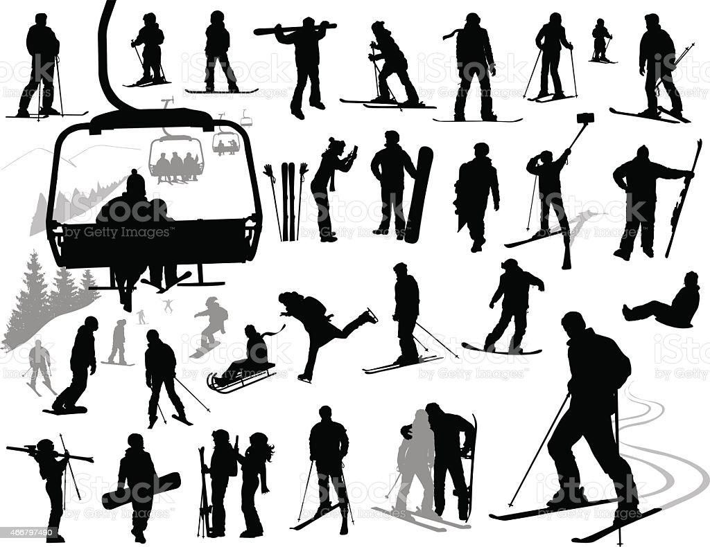Winter resort designs vector art illustration