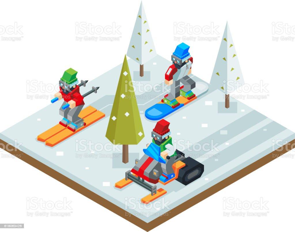 Winter resort holidays ski snowboard sled Isometric 3d Icon symbol vector art illustration