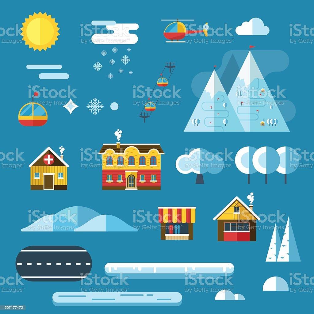 Winter Resort Landscape Creator Set vector art illustration