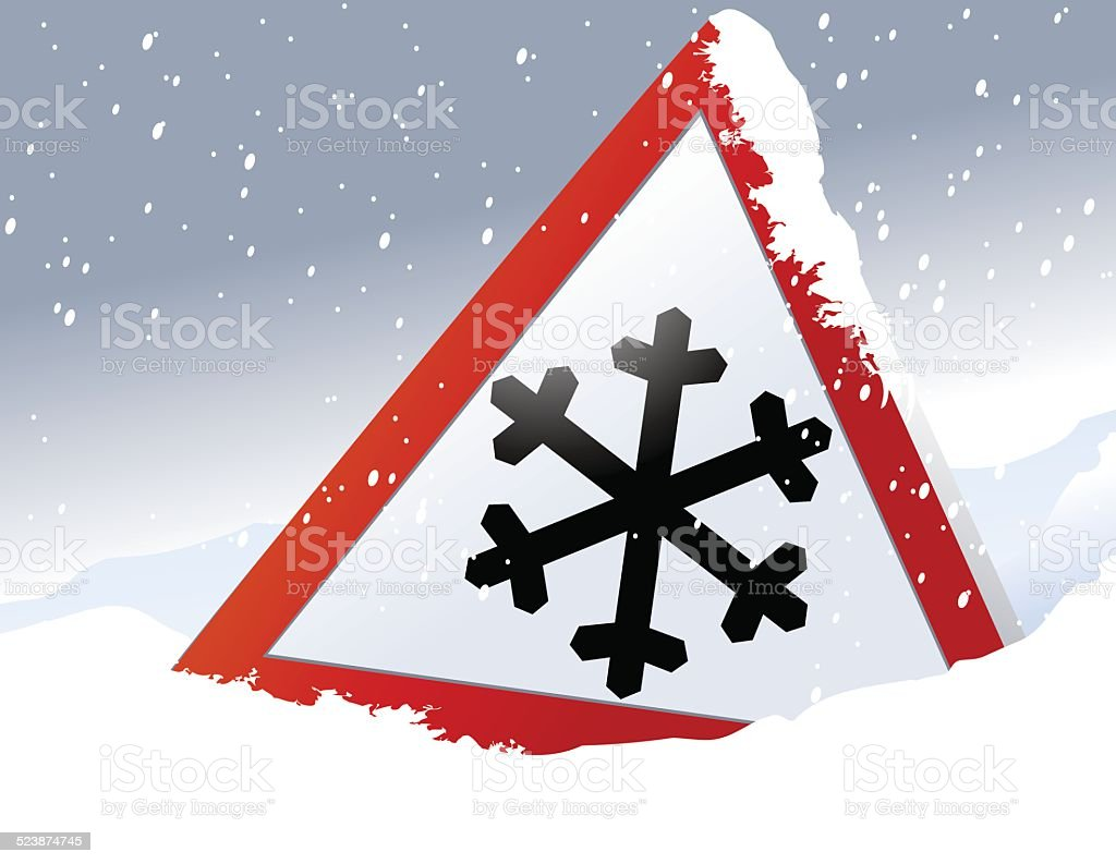 Winter road sign vector art illustration