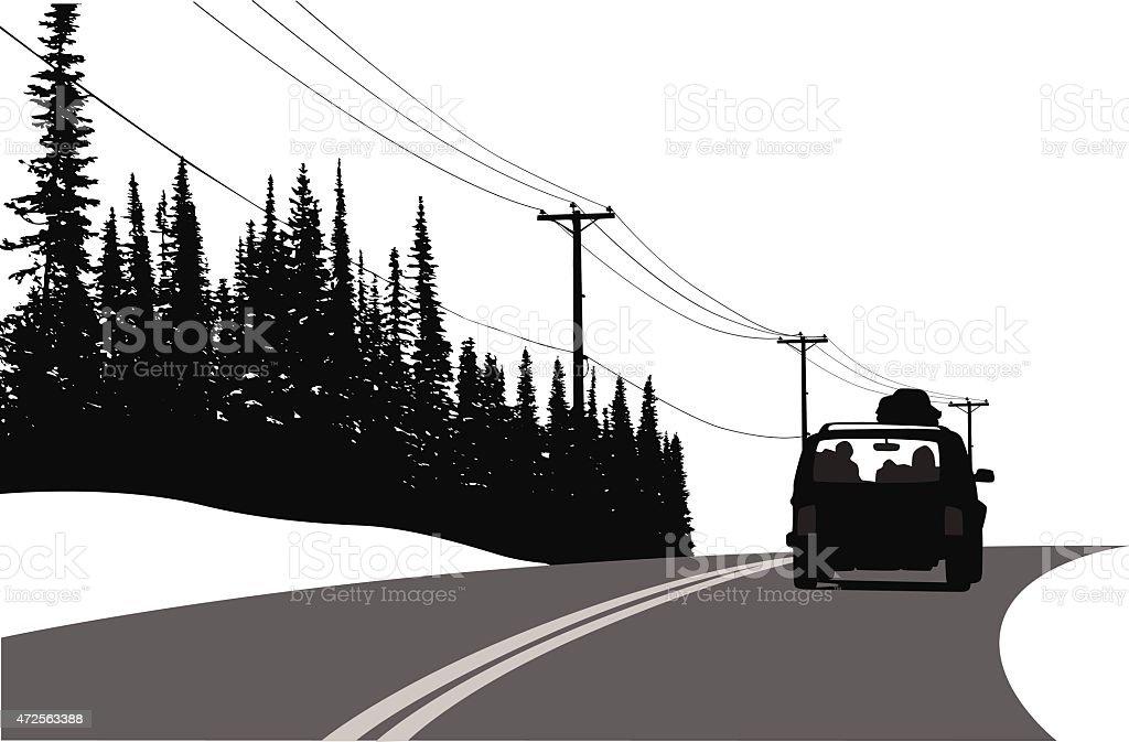 Winter Road Trip vector art illustration