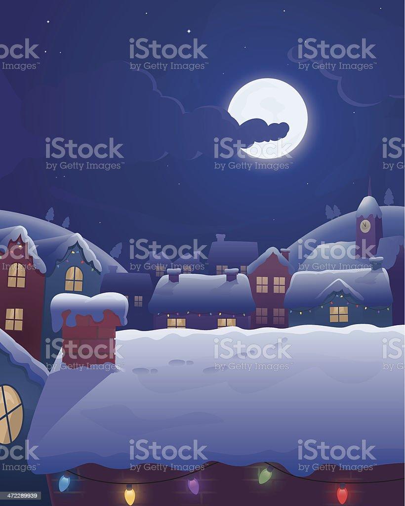 Winter Rooftops vector art illustration