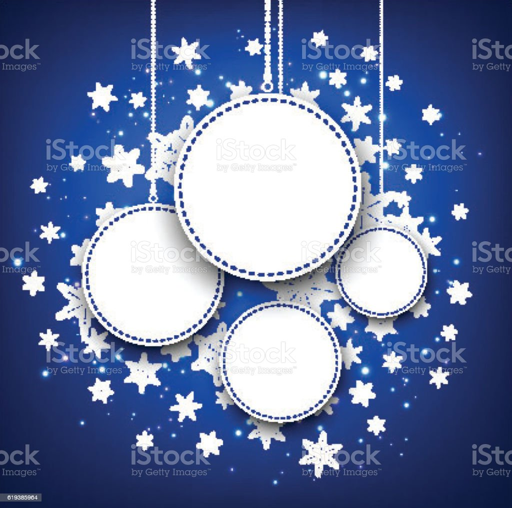 Winter round background with snowflakes. vector art illustration