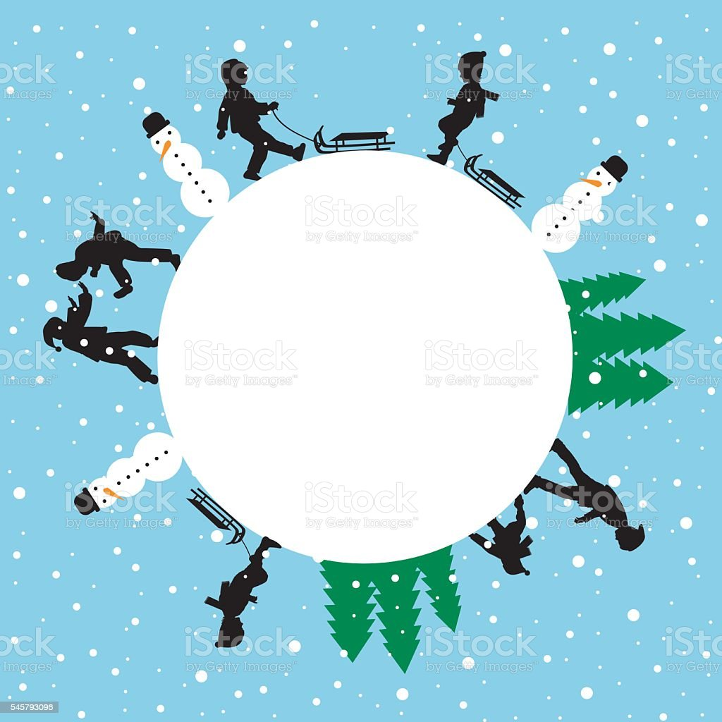 Winter round card with silhouettes of children playing vector art illustration