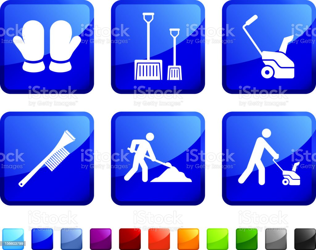 Winter safety cleanup icon set vector art illustration