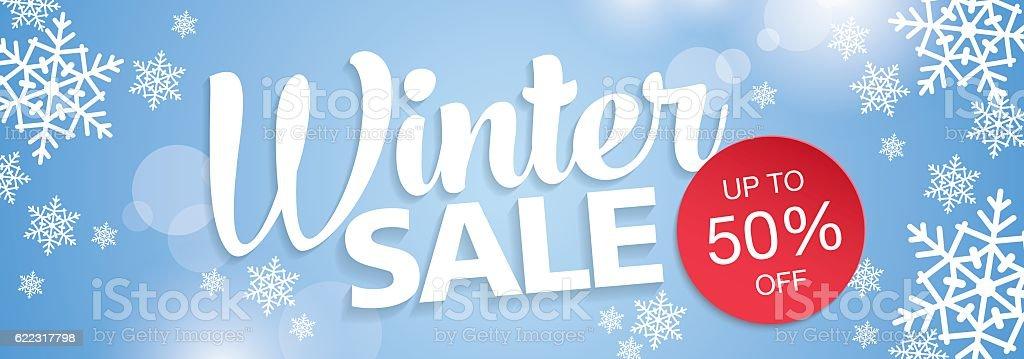 Winter sale banner vector art illustration