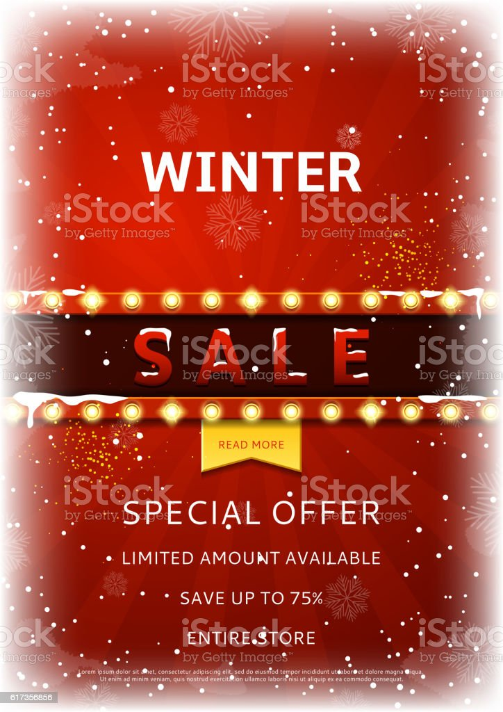Winter sale flyer with snow royalty-free stock vector art