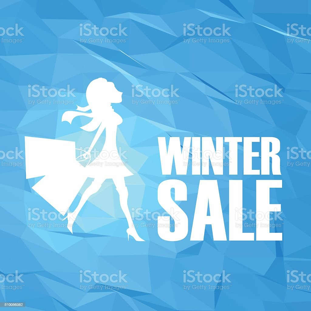 Winter sale poster template on modern blue white low poly vector art illustration