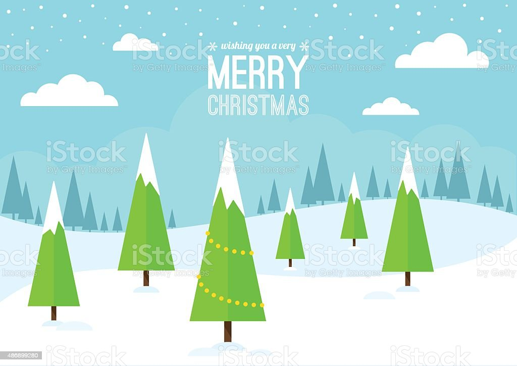 Winter Scene with Christmas Trees. vector art illustration