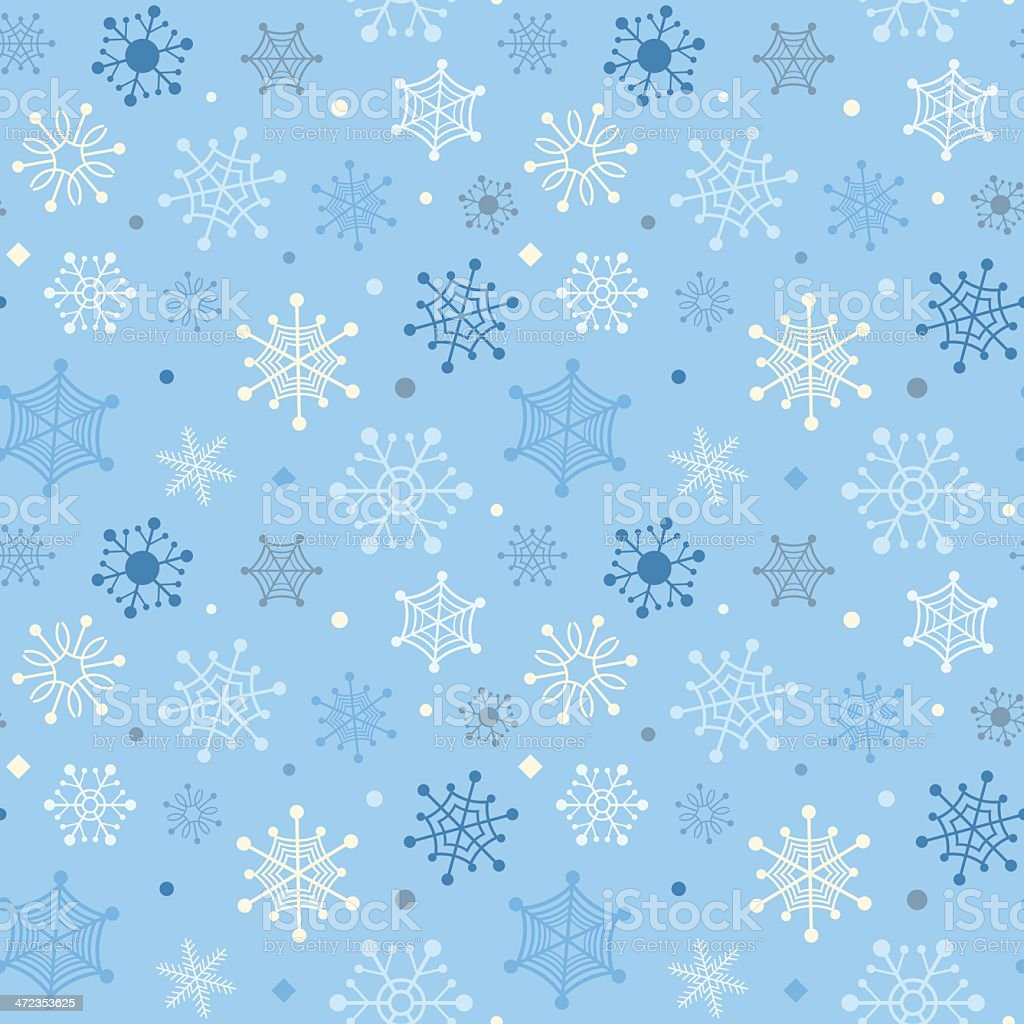 Winter seamless background with color snowflakes royalty-free stock vector art