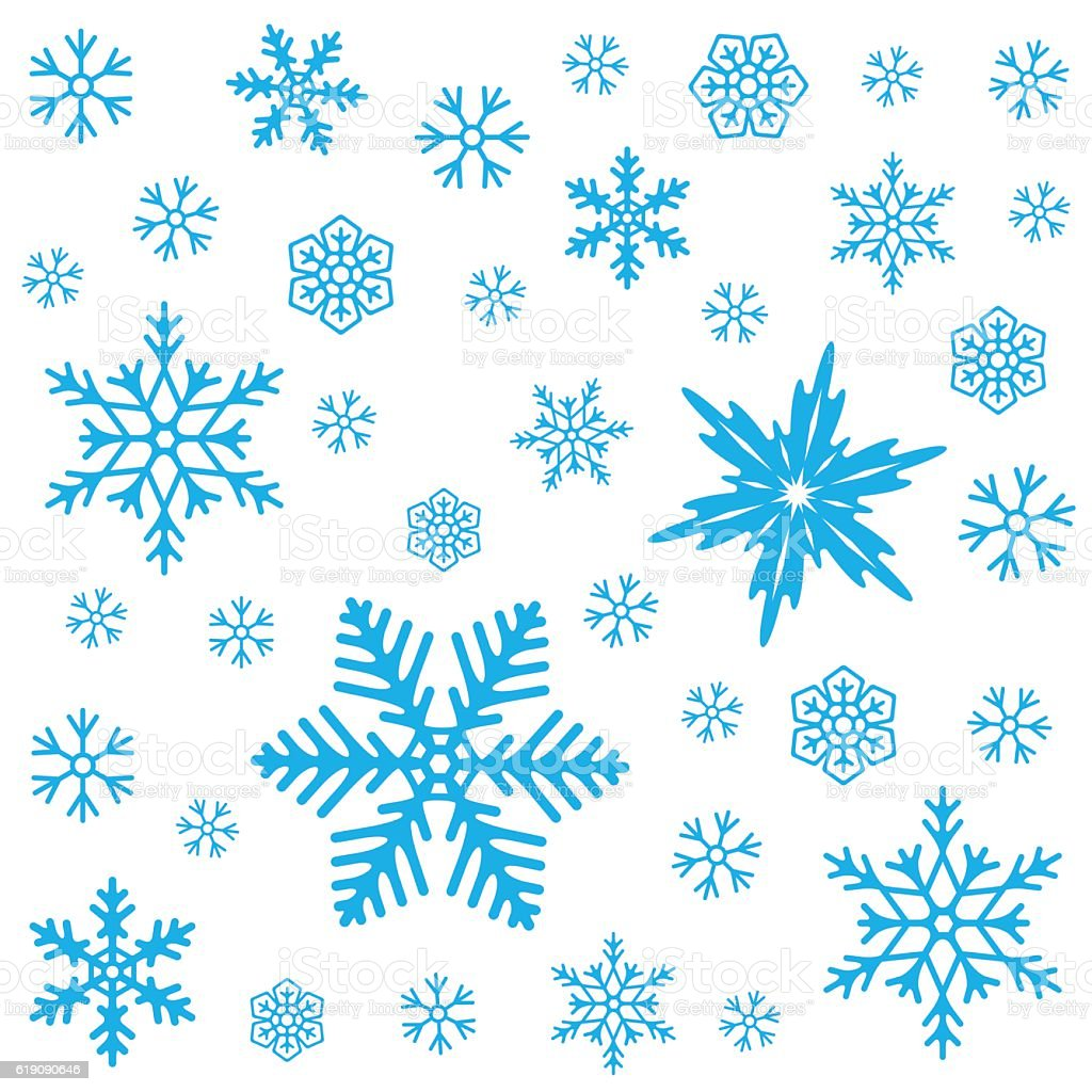 Winter seamless pattern with snowflakes on white background. Vector illustration. vector art illustration