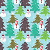 Winter seamless pattern with tree and snowman.