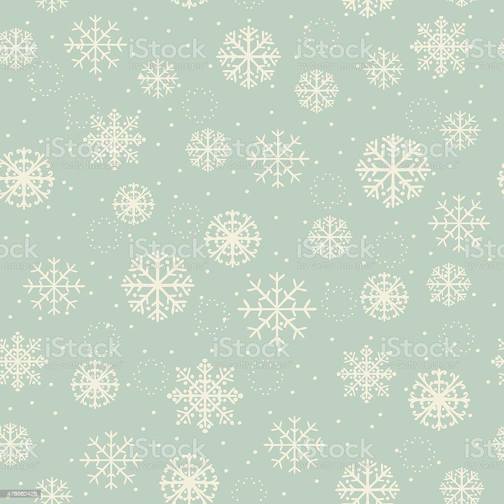 Winter seamless retro texture with ornamental snowflakes vector art illustration