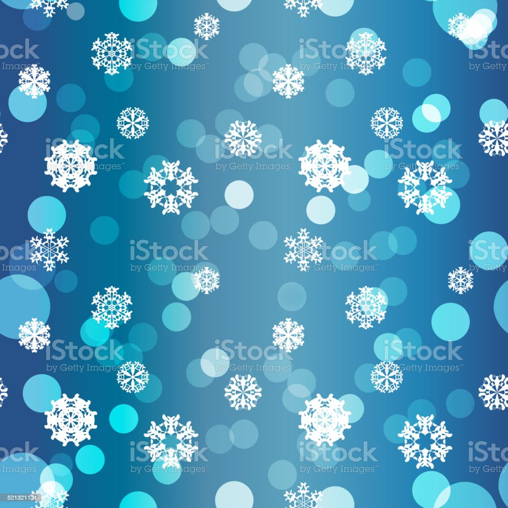 Winter seamless texture with snowflakes vector art illustration