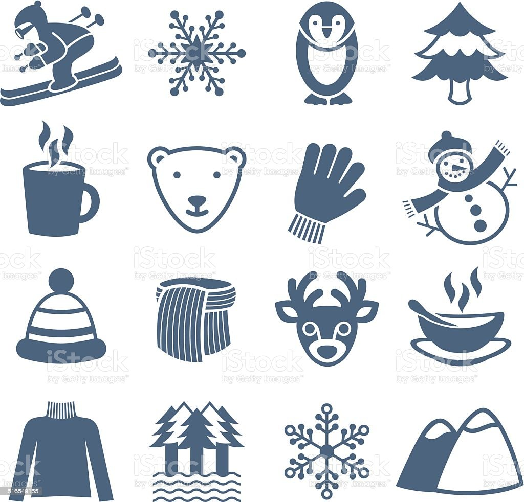 Winter Season - Icons Set vector art illustration