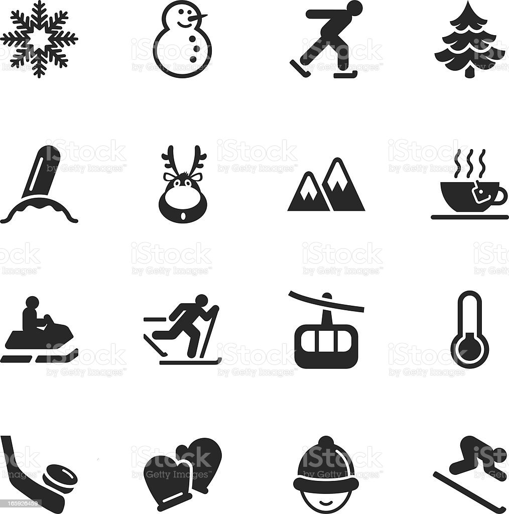 Winter Season Silhouette Icons royalty-free stock vector art