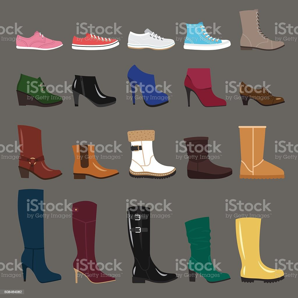 Winter shoes vector art illustration