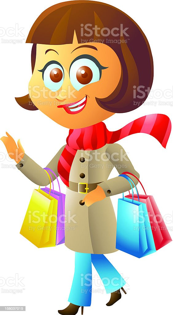 Winter Shopping girl royalty-free stock vector art