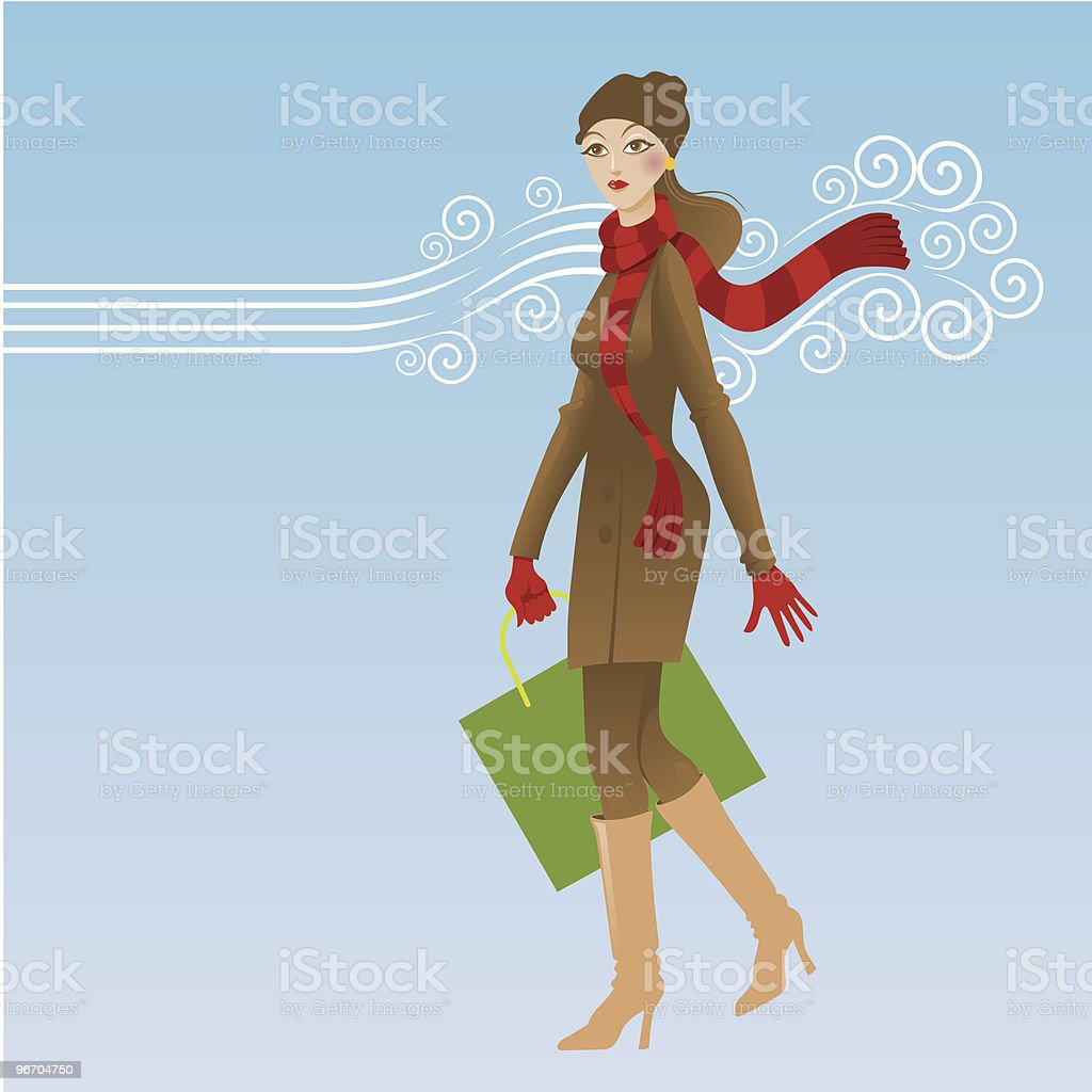 Winter Shopping royalty-free stock vector art