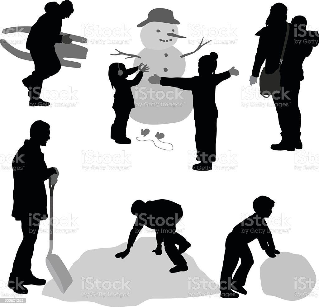 Winter Silhouette Family vector art illustration