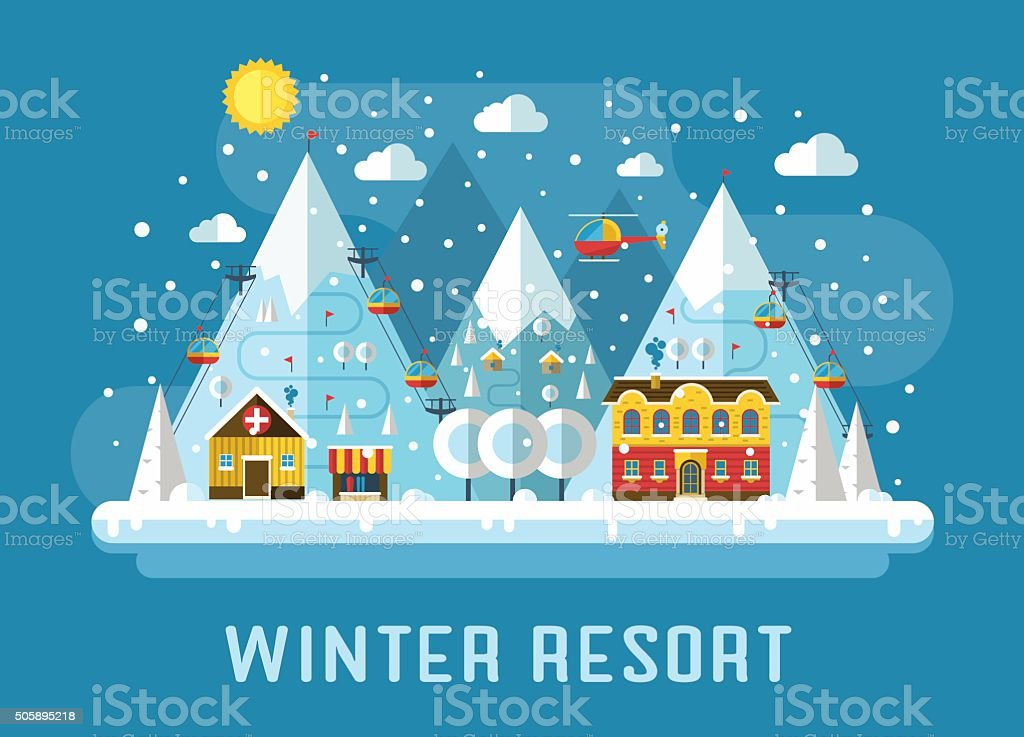 Winter Ski Resort Flat Landscape vector art illustration