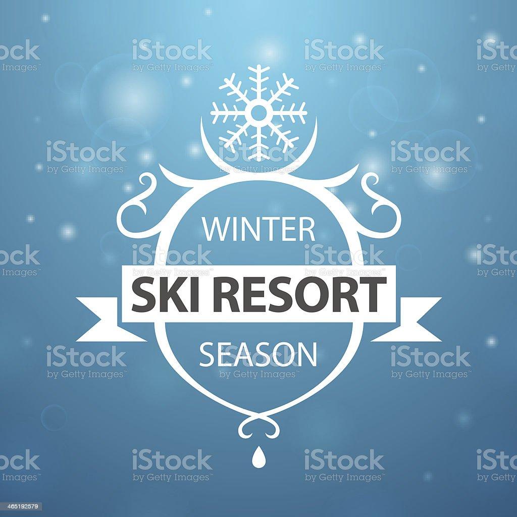 Winter ski resort season on blue background vector art illustration
