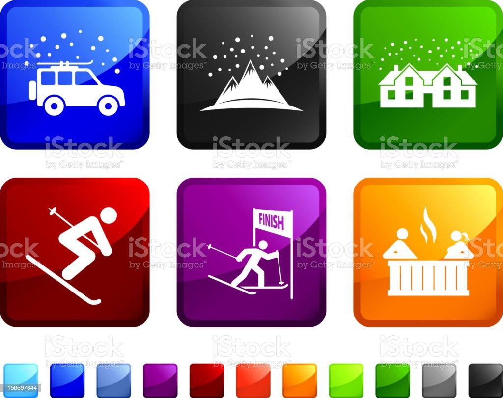 Winter ski resort soccer royalty free vector icon set royalty-free stock vector art