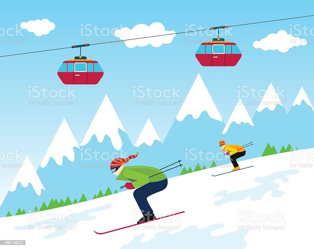 Winter Ski Resort vector art illustration