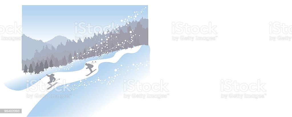 Winter Skiing royalty-free stock vector art