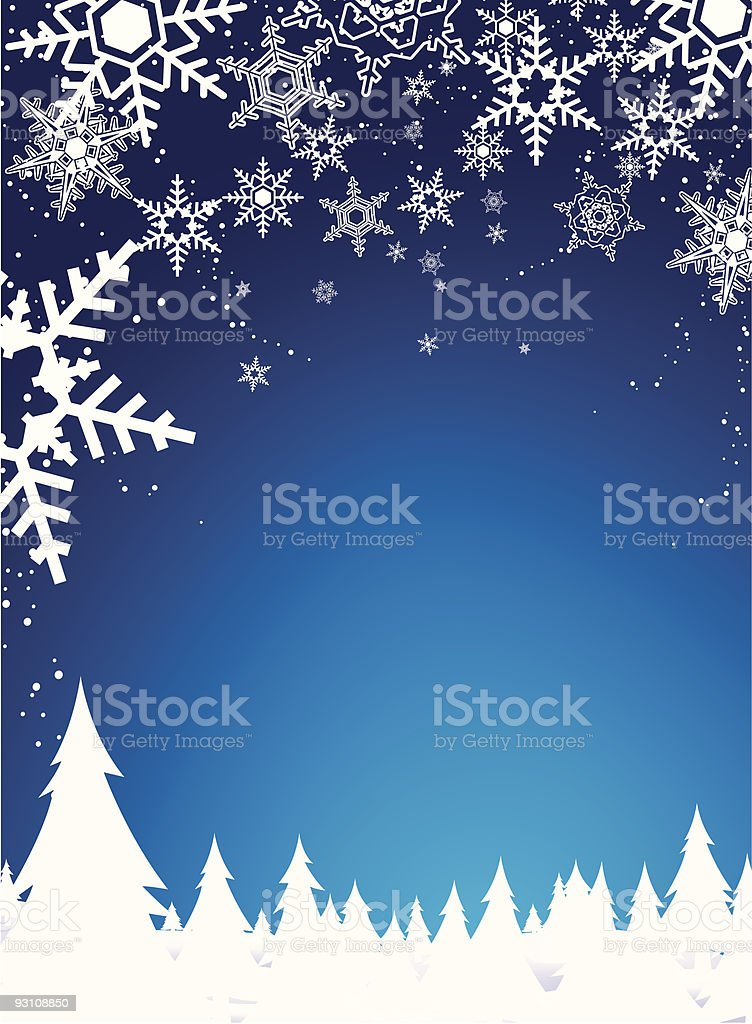 winter snow and holiday background vector art illustration
