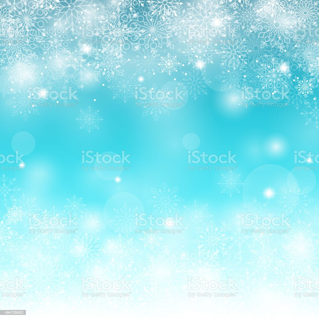 Winter Snow Background with Different Snowflakes. Vector Illustration vector art illustration