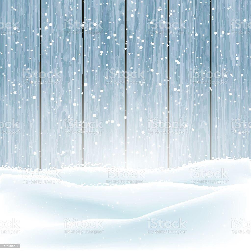 Winter snow on wood background vector art illustration
