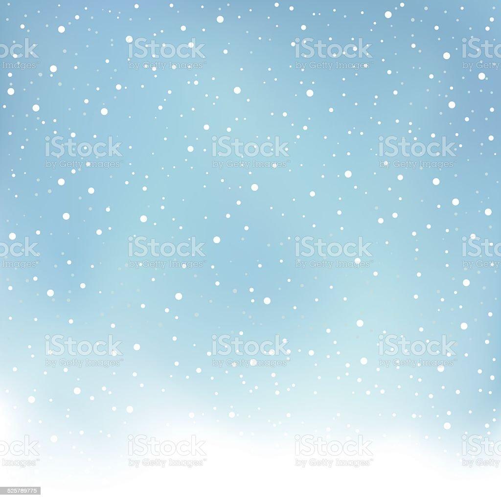 winter snowfall blue background vector art illustration