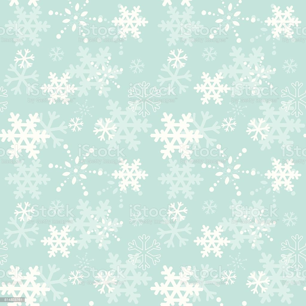 Winter snowflakes seamless texture vector art illustration