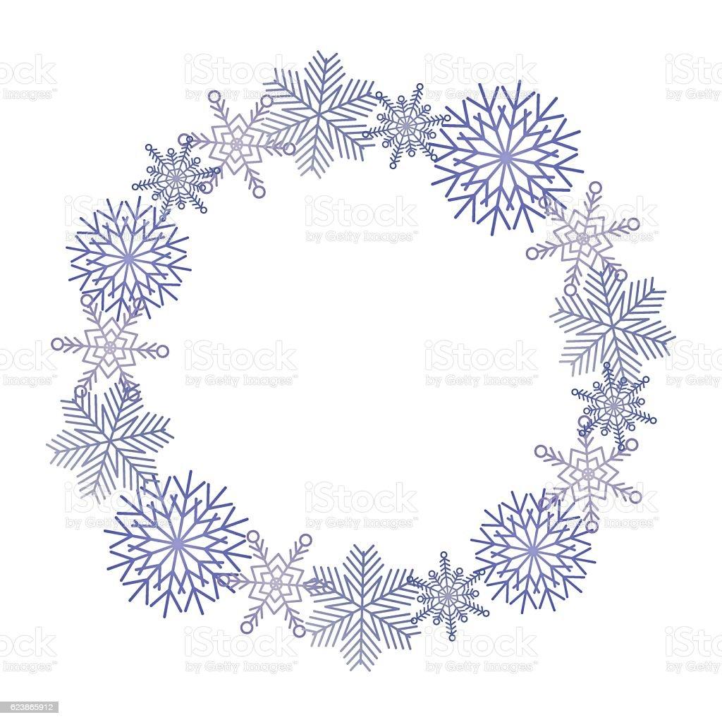 Winter snowflakes wreath vector art illustration