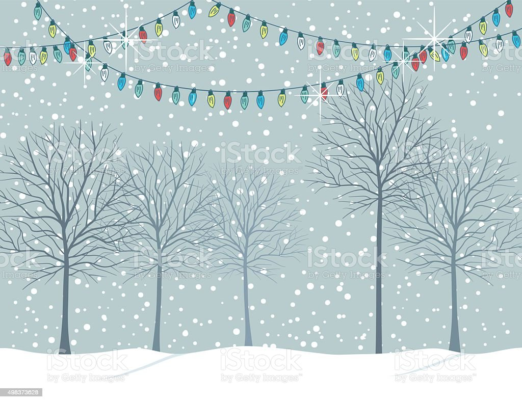 Winter Snowy Landscape With Trees. vector art illustration