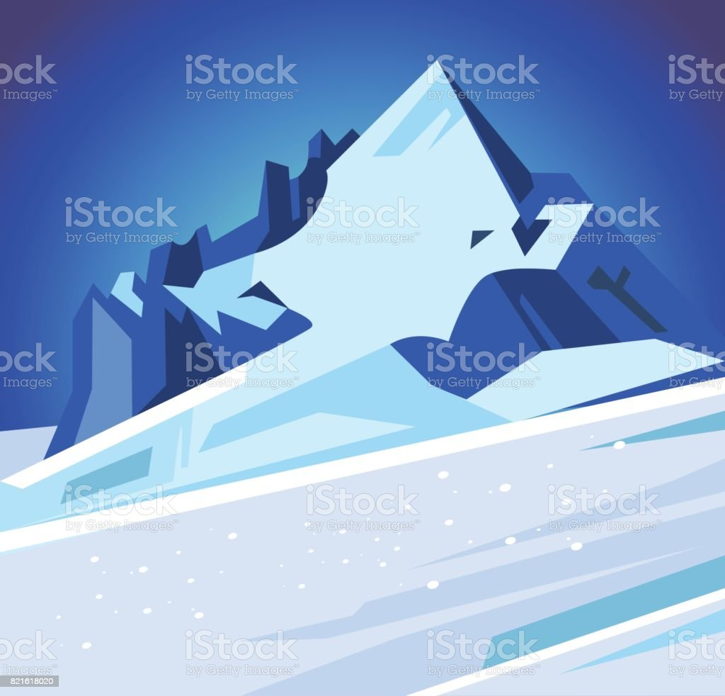 Winter snowy mountains vector art illustration