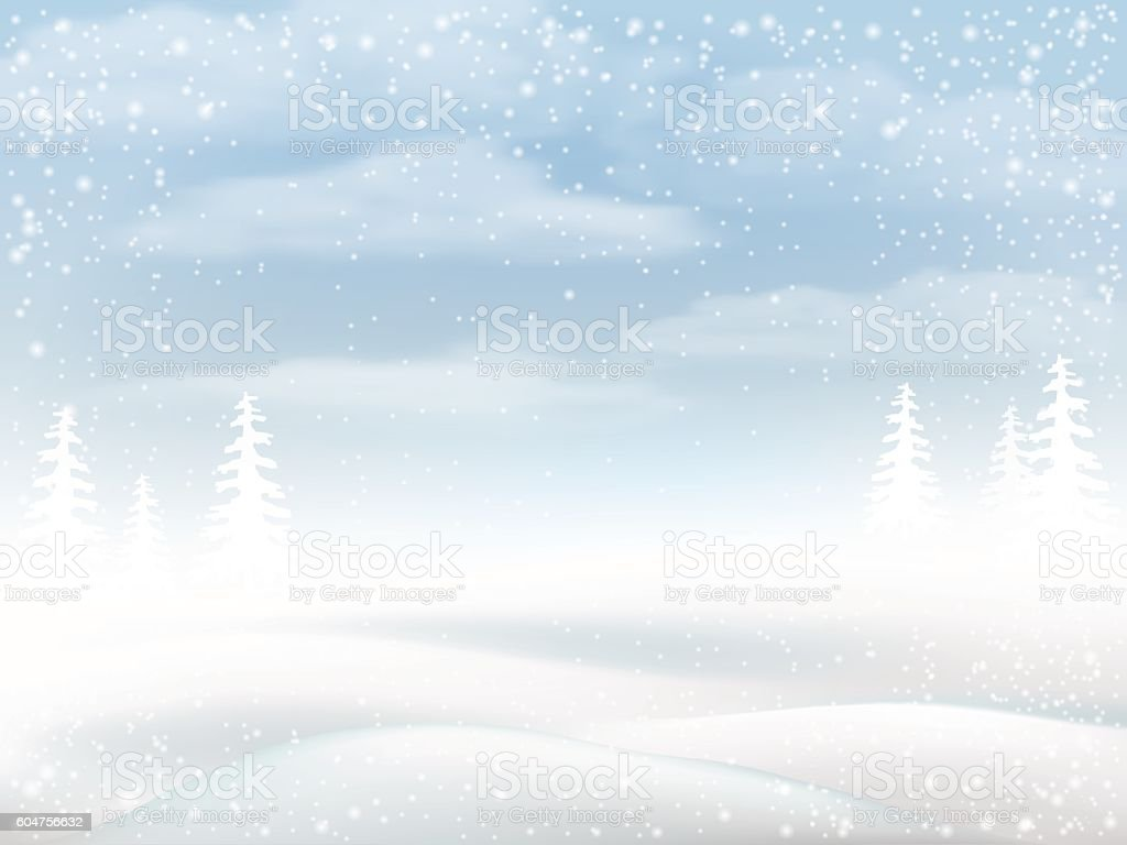 Winter snowy rural landscape vector art illustration