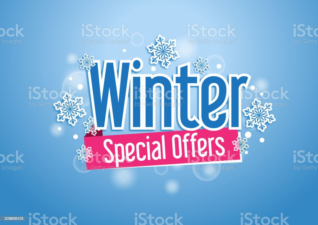 Winter Special Offers Word with Snows in Blue Background vector art illustration