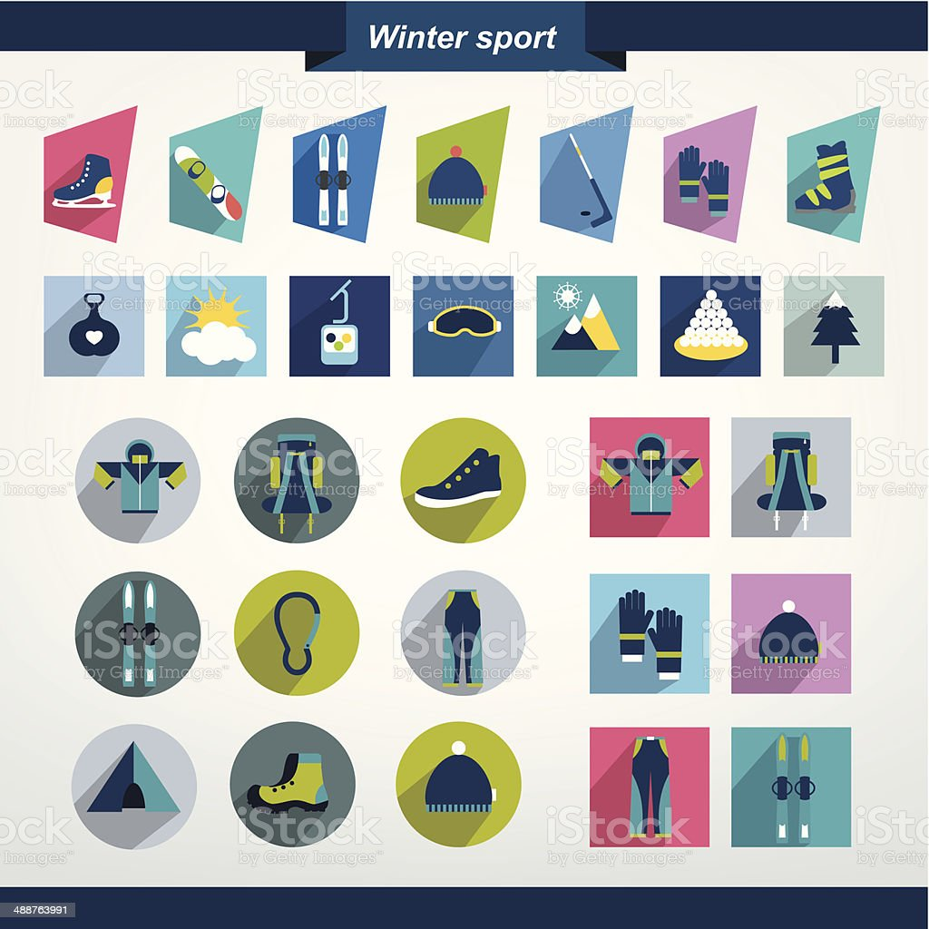 Winter sport and hiking flat icon collection. vector art illustration
