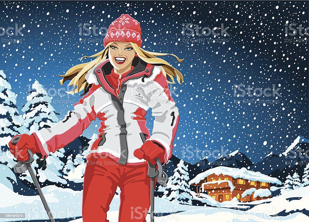 Winter Sport Girl Landscape Snowing royalty-free stock vector art