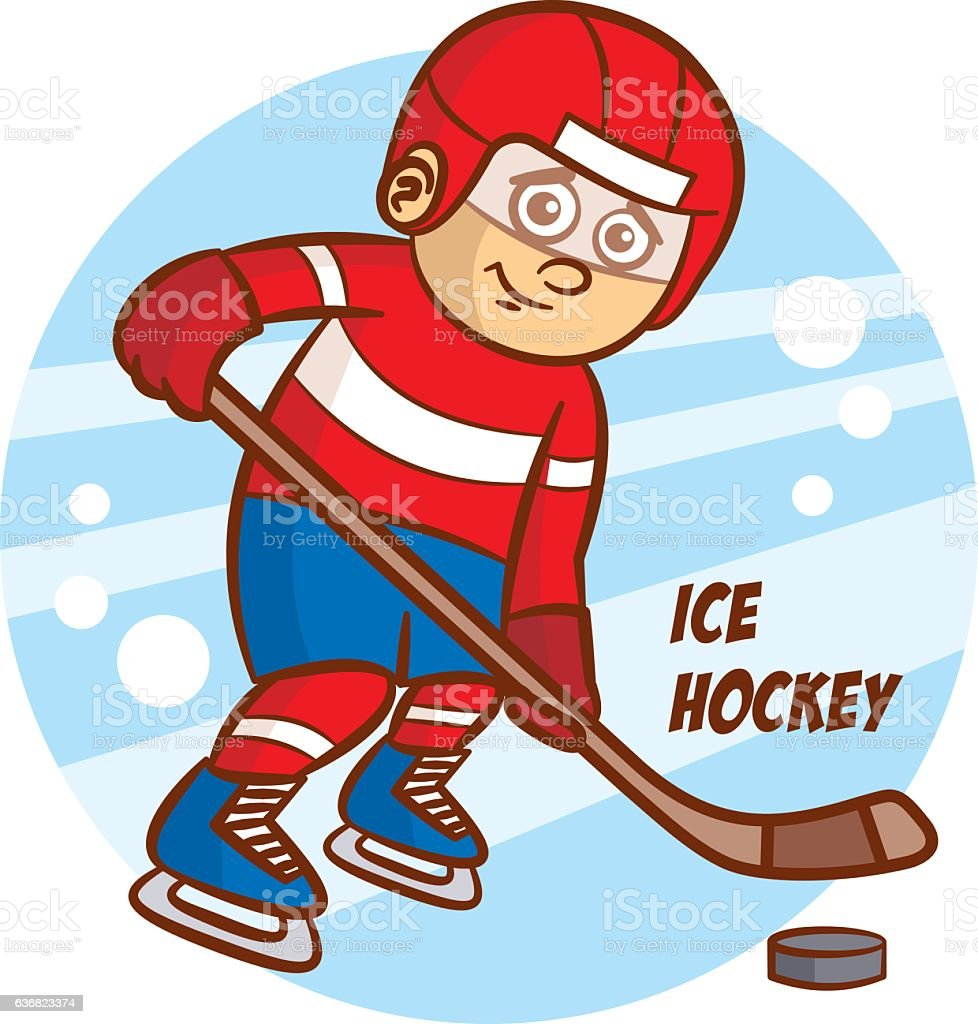 Winter Sport Ice Hockey Sticker Vector Illustration