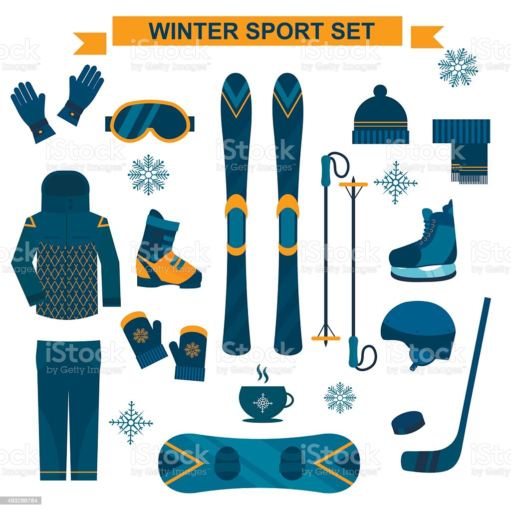 Winter sport icons and symbols in flat style vector collection vector art illustration