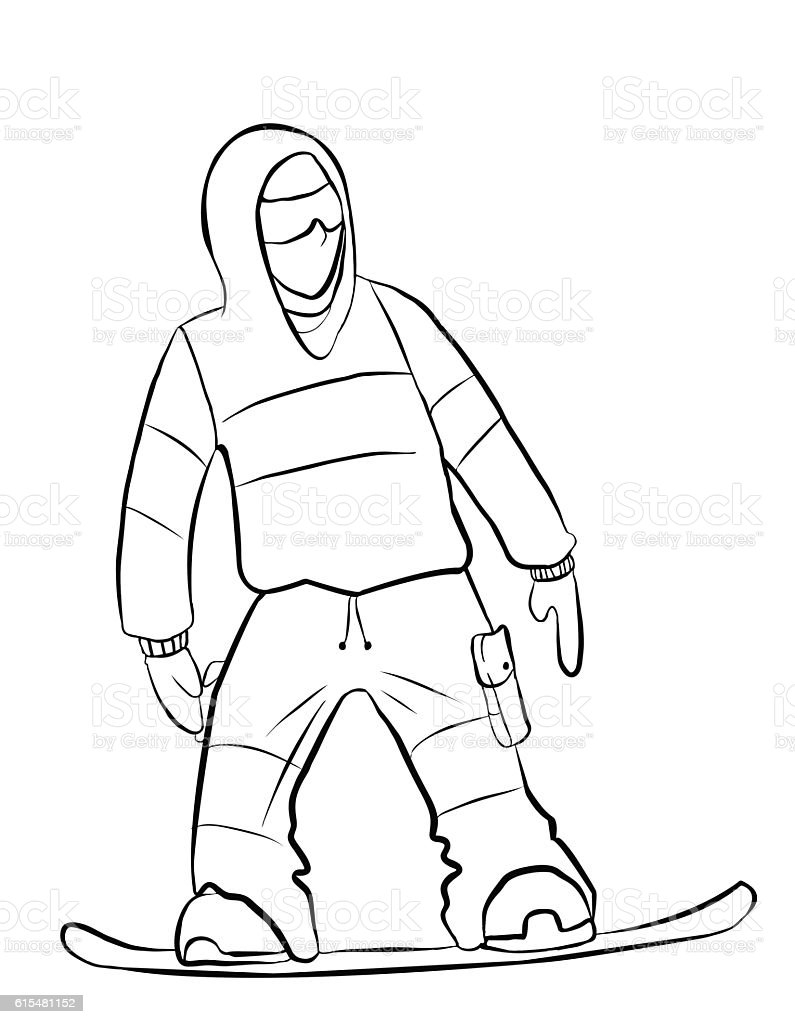A snowboarder rides a snowboard. Hand drawing