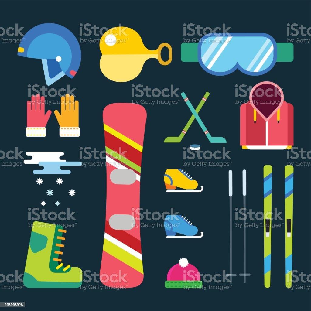 Winter sport vector icons set. Winter sport games flat design...