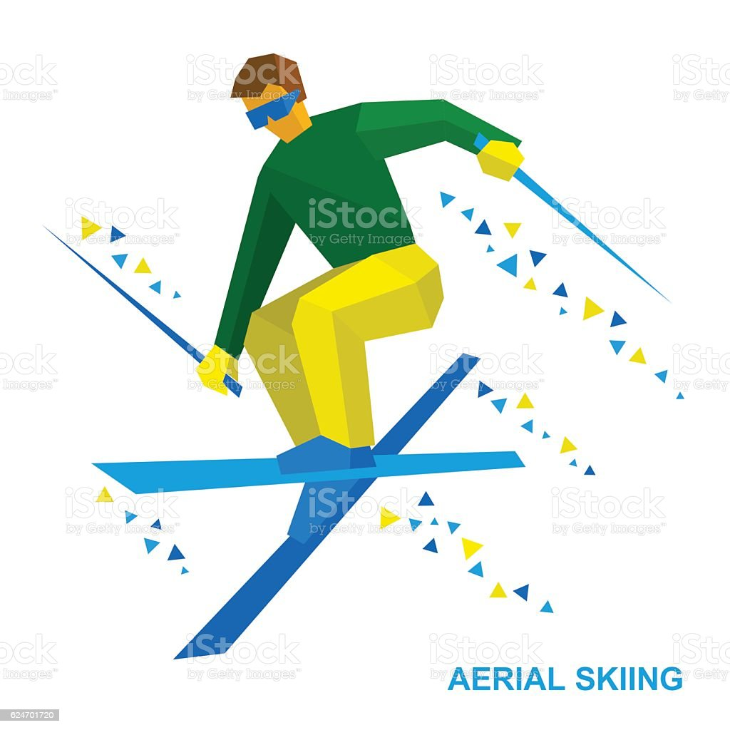 Winter sports: Aerial skiing. Freestyle skier during a jump vector art illustration