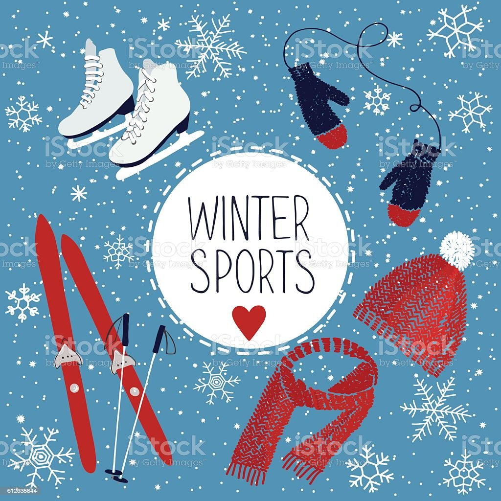 Winter sports and activities vector art illustration
